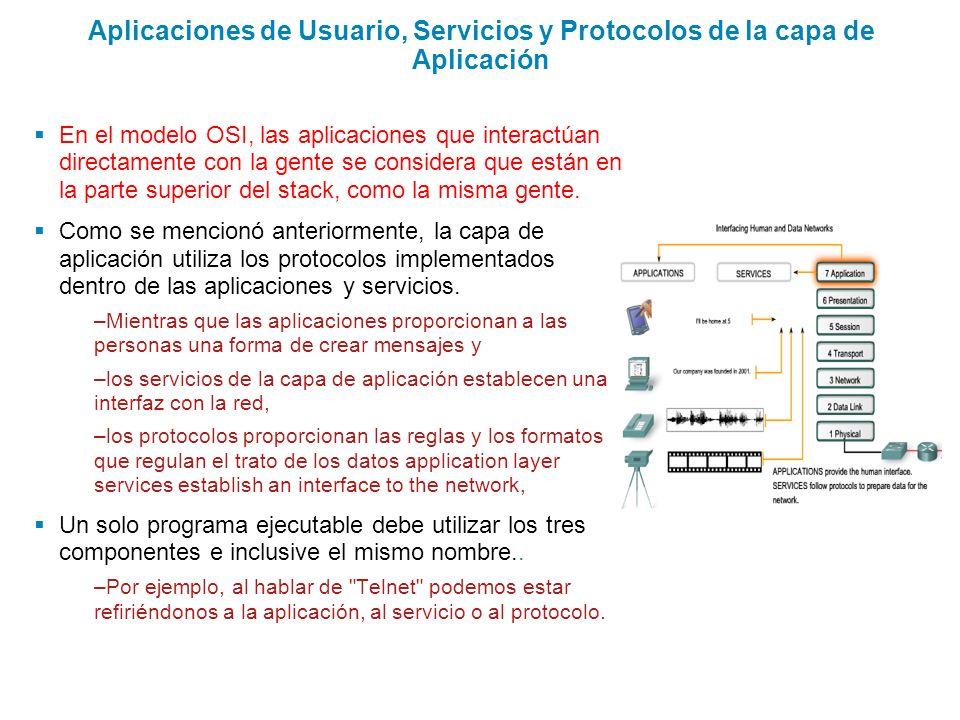 Aplicaciones de Usuario, Servicios y Protocolos de la capa de Aplicación En el modelo OSI, las aplicaciones que interactúan directamente con la gente