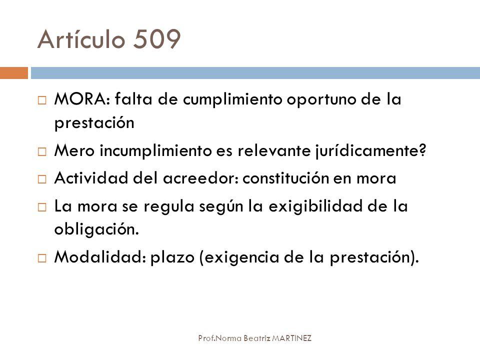 Artículo 509 Prof.Norma Beatriz MARTINEZ MORA: falta de cumplimiento oportuno de la prestación Mero incumplimiento es relevante jurídicamente? Activid