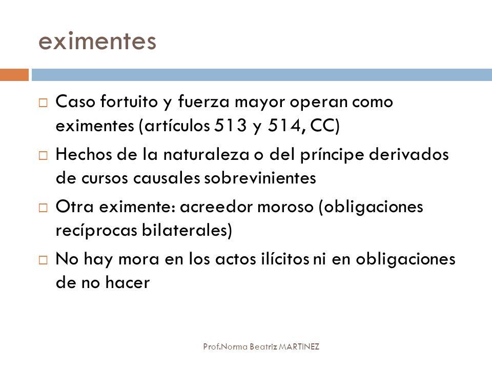 eximentes Prof.Norma Beatriz MARTINEZ Caso fortuito y fuerza mayor operan como eximentes (artículos 513 y 514, CC) Hechos de la naturaleza o del prínc
