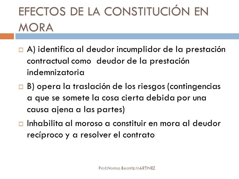 EFECTOS DE LA CONSTITUCIÓN EN MORA Prof.Norma Beatriz MARTINEZ A) identifica al deudor incumplidor de la prestación contractual como deudor de la pres