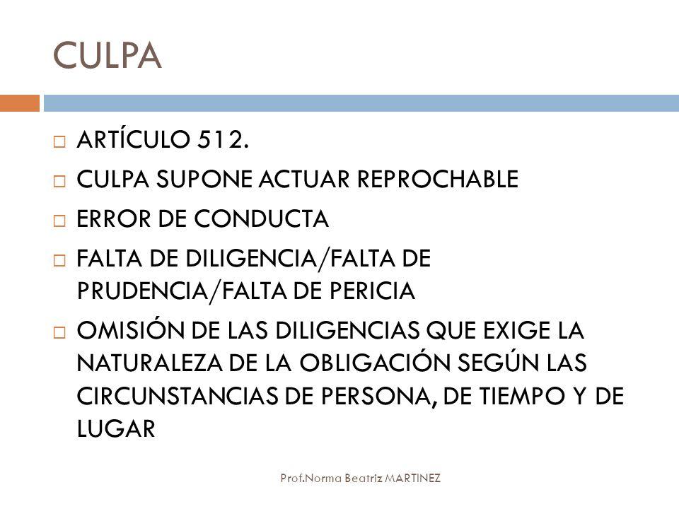 CULPA Prof.Norma Beatriz MARTINEZ ARTÍCULO 512. CULPA SUPONE ACTUAR REPROCHABLE ERROR DE CONDUCTA FALTA DE DILIGENCIA/FALTA DE PRUDENCIA/FALTA DE PERI