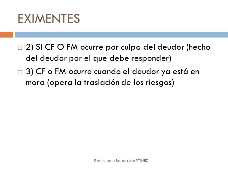 EXIMENTES Prof.Norma Beatriz MARTINEZ 2) SI CF O FM ocurre por culpa del deudor (hecho del deudor por el que debe responder) 3) CF o FM ocurre cuando