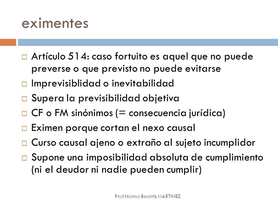 eximentes Prof.Norma Beatriz MARTINEZ Artículo 514: caso fortuito es aquel que no puede preverse o que previsto no puede evitarse Imprevisiblidad o in