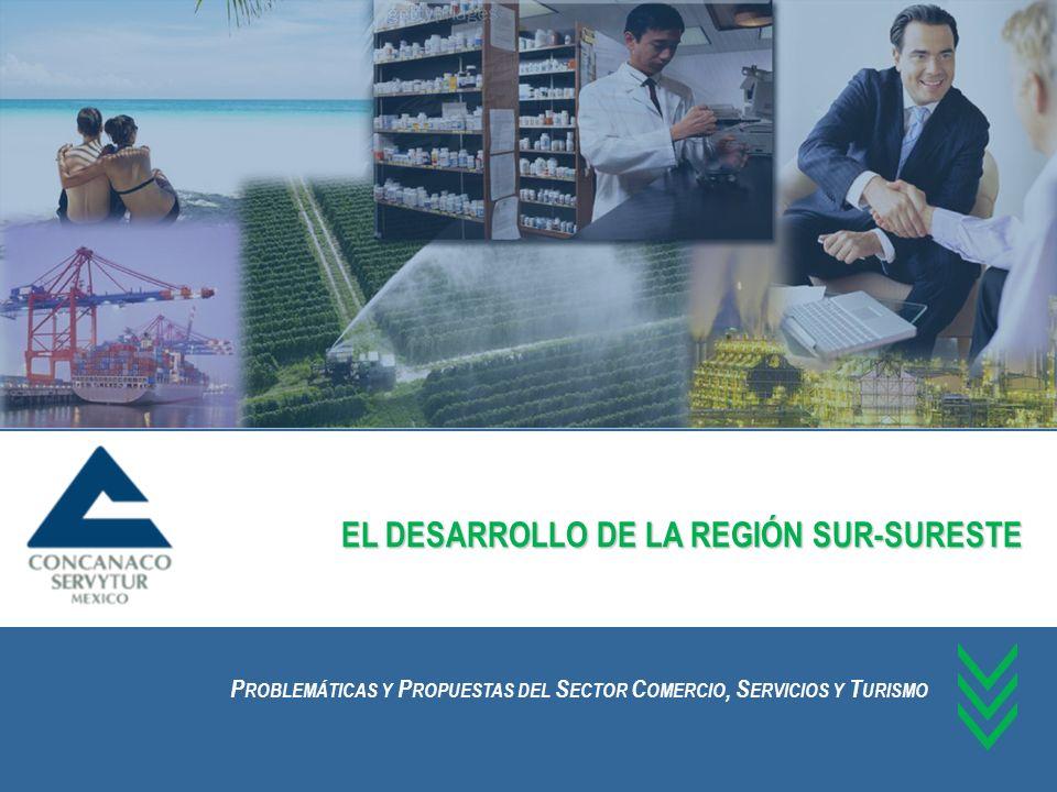 Participación de la Zona Sur Sureste en el Producto Interno Bruto La región Sur Sureste del país, según la regionalización que hace la CONCANACO – SERVYTUR, tiene una participación del 14.3% en el Producto Interno Bruto Nacional.
