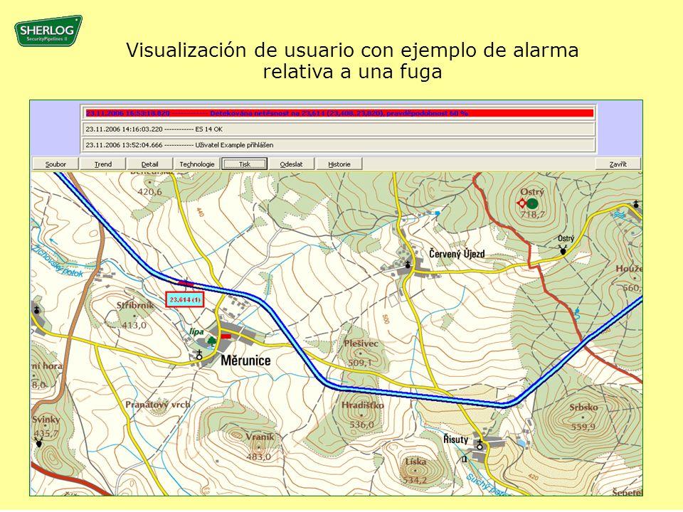 Visualización de usuario con ejemplo de alarma relativa a una fuga