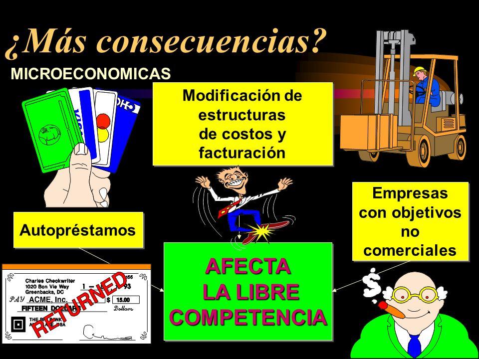 ¿Más consecuencias? REDUCCIÓN DE LA TASA DE CRECIMIENTO NACIONAL E INTERNACIONAL Inversiones opuestas a fundamentos económicos Inversiones opuestas a