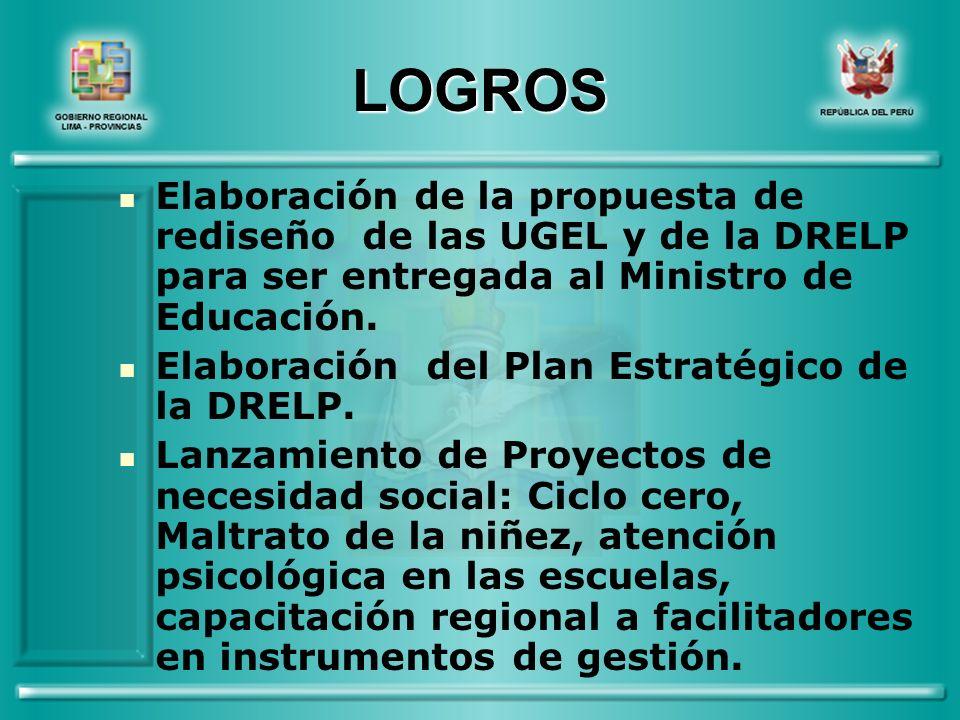 LOGROS Elaboración de la propuesta de rediseño de las UGEL y de la DRELP para ser entregada al Ministro de Educación.