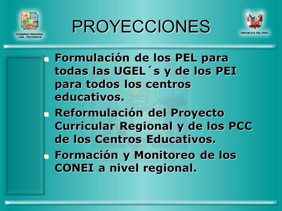 PROYECCIONES Formulación de los PEL para todas las UGEL´s y de los PEI para todos los centros educativos.