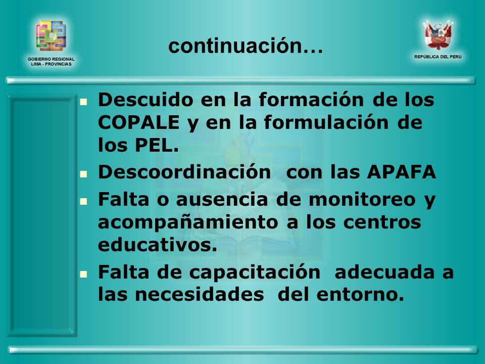 continuación… Descuido en la formación de los COPALE y en la formulación de los PEL.
