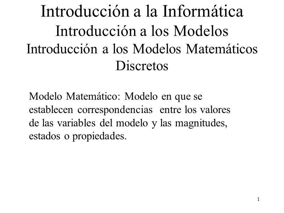 1 Introducción a la Informática Introducción a los Modelos Introducción a los Modelos Matemáticos Discretos Modelo Matemático: Modelo en que se establecen correspondencias entre los valores de las variables del modelo y las magnitudes, estados o propiedades.