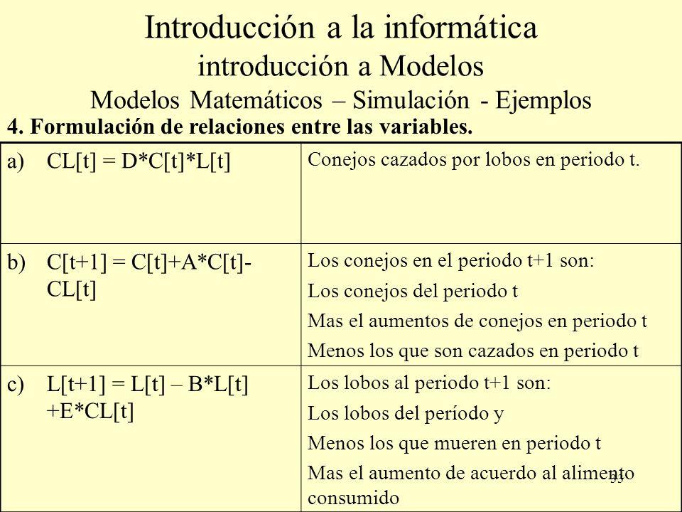 33 Introducción a la informática introducción a Modelos Modelos Matemáticos – Simulación - Ejemplos a)CL[t] = D*C[t]*L[t] Conejos cazados por lobos en periodo t.
