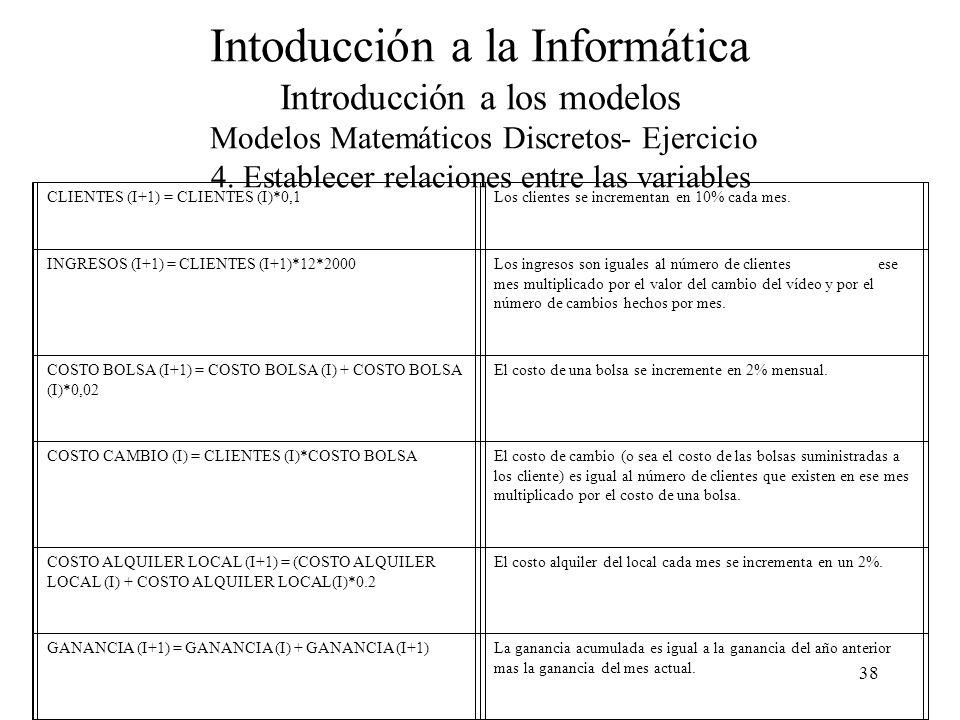 38 Intoducción a la Informática Introducción a los modelos Modelos Matemáticos Discretos- Ejercicio 4.