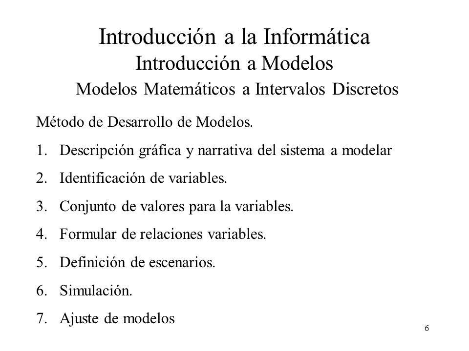 17 Introducción a la Informática Introducción a Modelos Modelos Matemáticos a Intervalos Discretos Modelo de un año Modelo para los 5 años Alumnos que ingresanAlumnos que egresan Alumnos que abandonan Año 1 Año 2 Año 3 Año 4 Año 5 1.