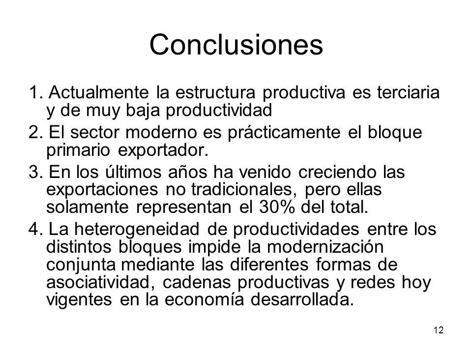 12 Conclusiones 1.Actualmente la estructura productiva es terciaria y de muy baja productividad 2.