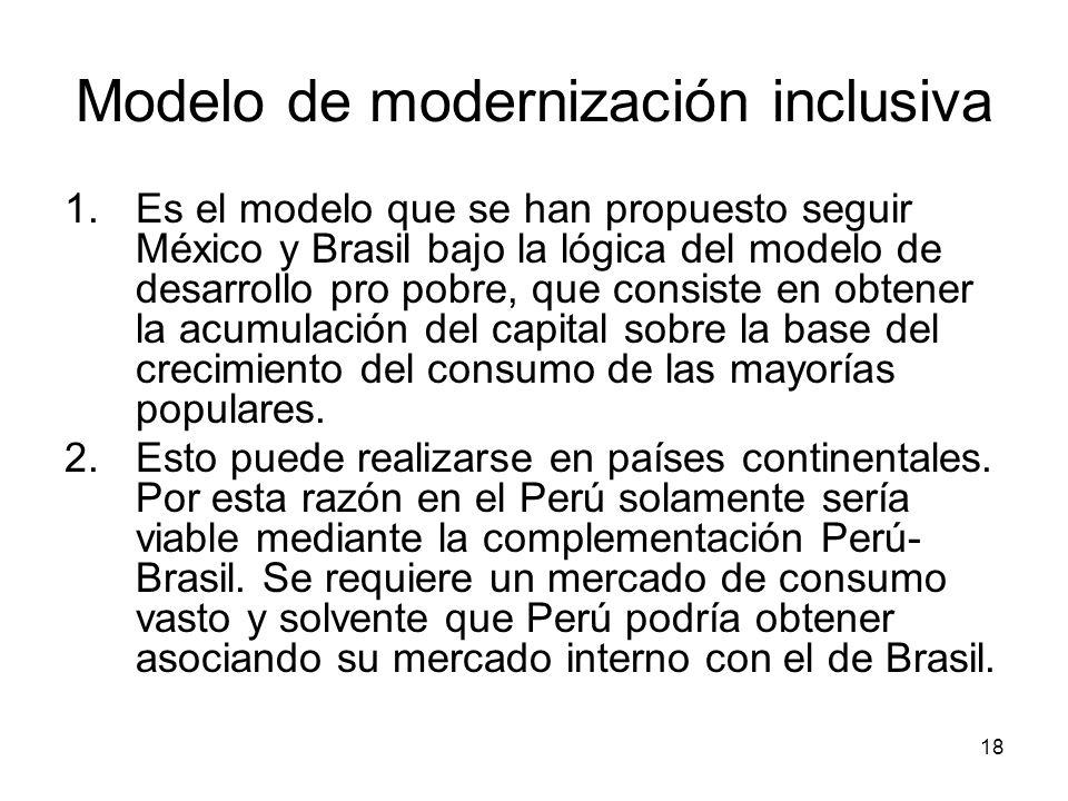18 Modelo de modernización inclusiva 1.Es el modelo que se han propuesto seguir México y Brasil bajo la lógica del modelo de desarrollo pro pobre, que consiste en obtener la acumulación del capital sobre la base del crecimiento del consumo de las mayorías populares.