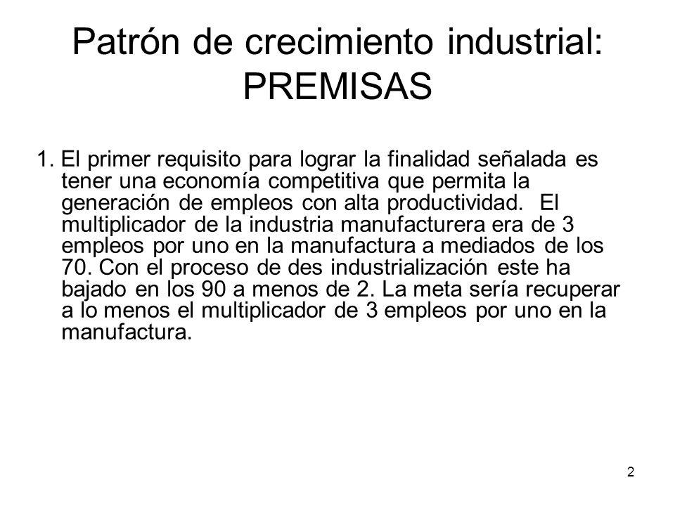 2 Patrón de crecimiento industrial: PREMISAS 1.