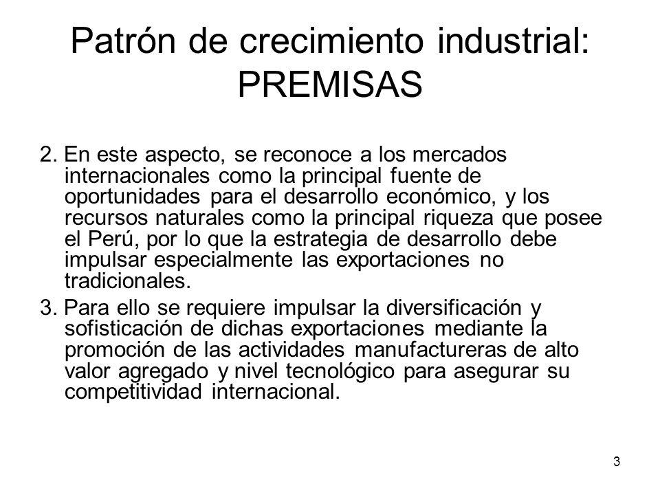 3 Patrón de crecimiento industrial: PREMISAS 2.