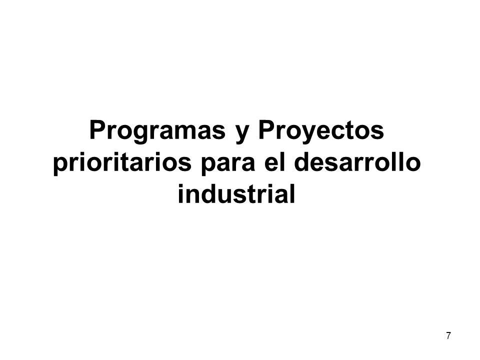 7 Programas y Proyectos prioritarios para el desarrollo industrial