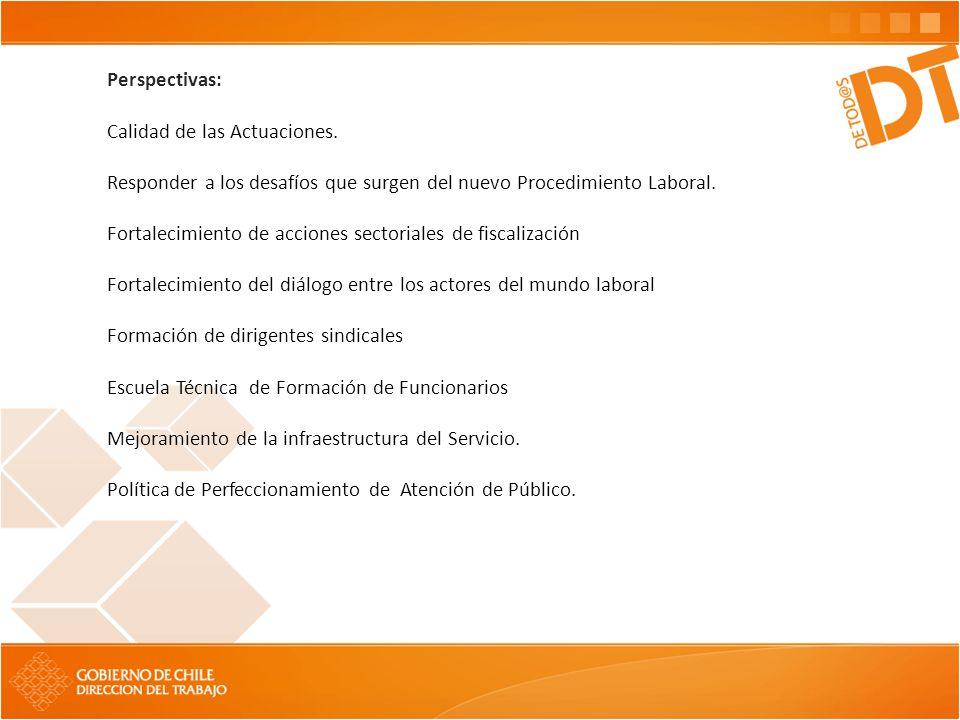 Perspectivas: Calidad de las Actuaciones. Responder a los desafíos que surgen del nuevo Procedimiento Laboral. Fortalecimiento de acciones sectoriales