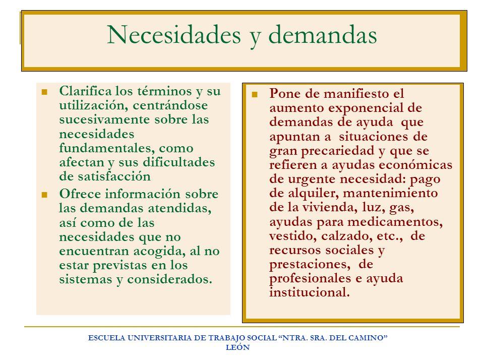 ESCUELA UNIVERSITARIA DE TRABAJO SOCIAL NTRA. SRA. DEL CAMINO LEÓN Necesidades y demandas Clarifica los términos y su utilización, centrándose sucesiv