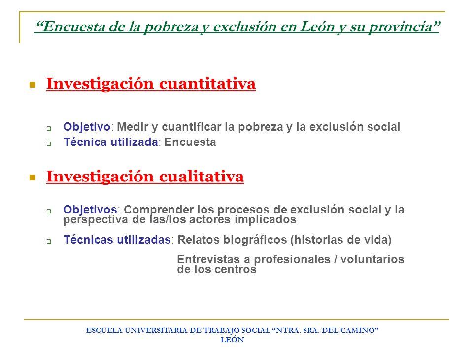 ESCUELA UNIVERSITARIA DE TRABAJO SOCIAL NTRA. SRA. DEL CAMINO LEÓN Encuesta de la pobreza y exclusión en León y su provincia Investigación cuantitativ