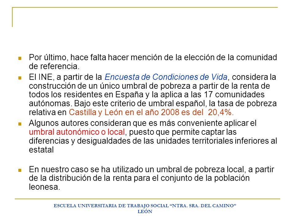 ESCUELA UNIVERSITARIA DE TRABAJO SOCIAL NTRA. SRA. DEL CAMINO LEÓN Por último, hace falta hacer mención de la elección de la comunidad de referencia.