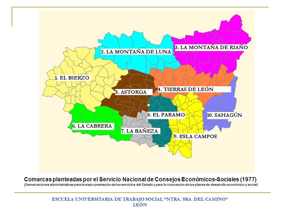 ESCUELA UNIVERSITARIA DE TRABAJO SOCIAL NTRA. SRA. DEL CAMINO LEÓN Comarcas planteadas por el Servicio Nacional de Consejos Económicos-Sociales (1977)