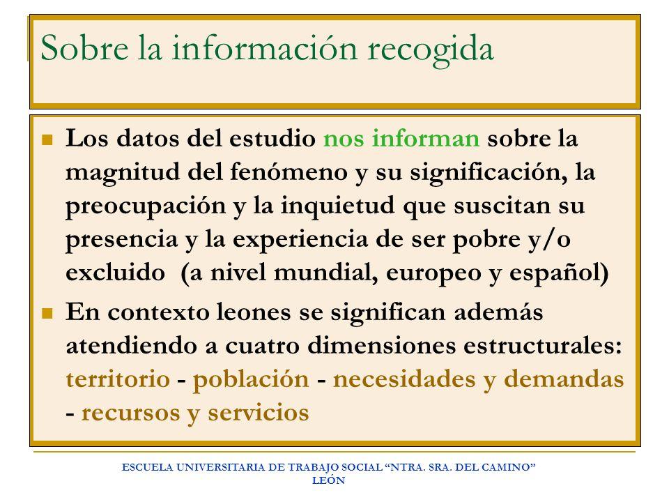 ESCUELA UNIVERSITARIA DE TRABAJO SOCIAL NTRA. SRA. DEL CAMINO LEÓN Sobre la información recogida Los datos del estudio nos informan sobre la magnitud