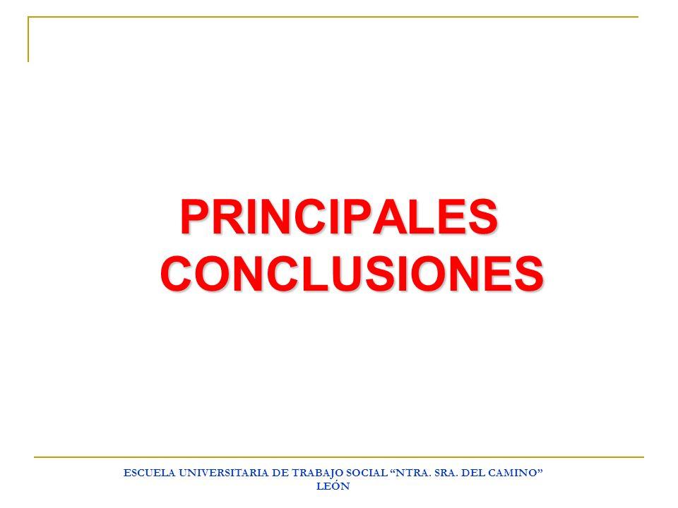 ESCUELA UNIVERSITARIA DE TRABAJO SOCIAL NTRA. SRA. DEL CAMINO LEÓN PRINCIPALES CONCLUSIONES