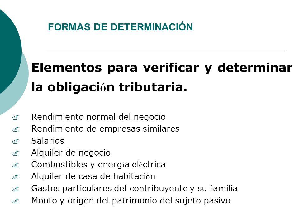 FORMAS DE DETERMINACIÓN Elementos para verificar y determinar la obligaci ó n tributaria.. Rendimiento normal del negocio. Rendimiento de empresas sim
