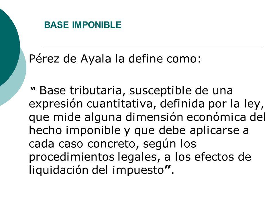 BASE IMPONIBLE Pérez de Ayala la define como: Base tributaria, susceptible de una expresión cuantitativa, definida por la ley, que mide alguna dimensi