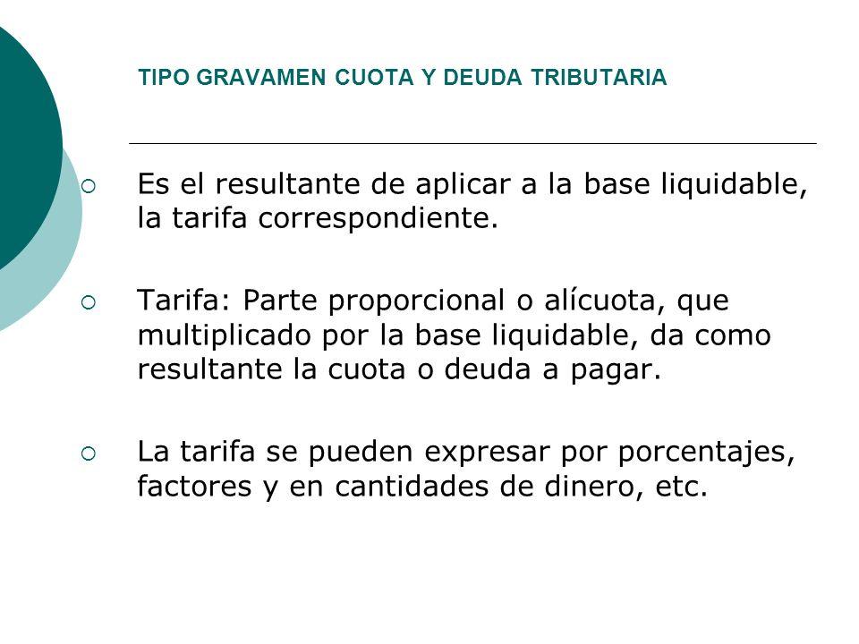 TIPO GRAVAMEN CUOTA Y DEUDA TRIBUTARIA Es el resultante de aplicar a la base liquidable, la tarifa correspondiente. Tarifa: Parte proporcional o alícu