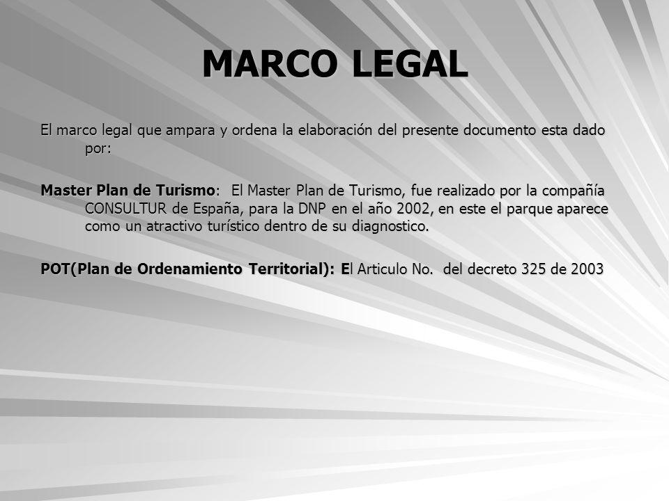 MARCO LEGAL El marco legal que ampara y ordena la elaboración del presente documento esta dado por: Master Plan de Turismo: El Master Plan de Turismo,