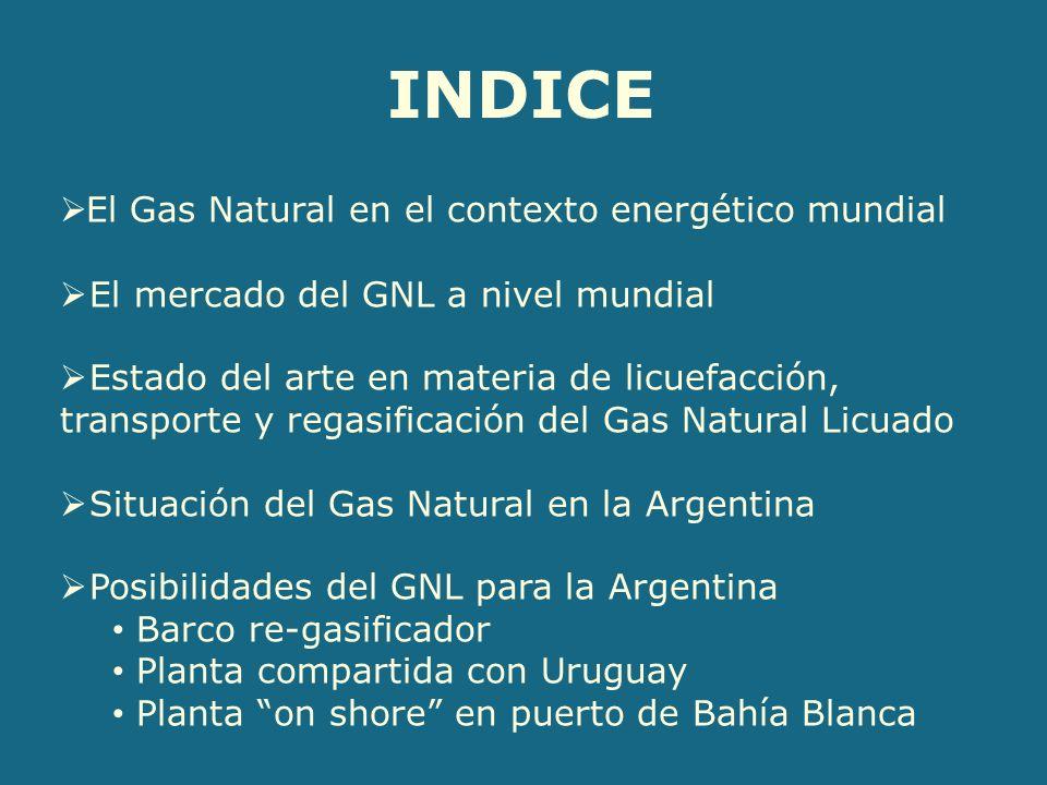 El Gas Natural en el contexto energético mundial El mercado del GNL a nivel mundial Estado del arte en materia de licuefacción, transporte y regasificación del Gas Natural Licuado Situación del Gas Natural en la Argentina Posibilidades del GNL para la Argentina Barco re-gasificador Planta compartida con Uruguay Planta on shore en puerto de Bahía Blanca INDICE