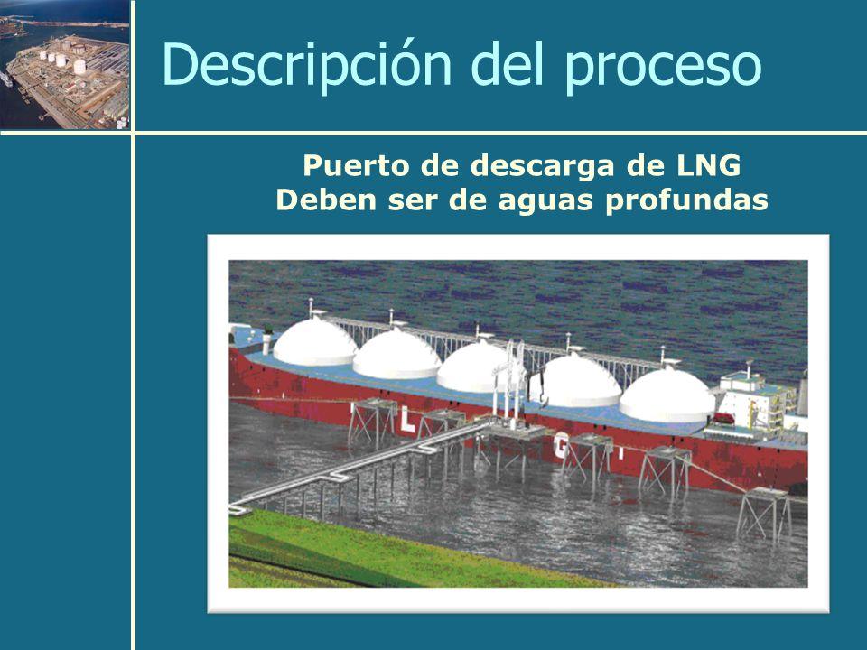 Puerto de descarga de LNG Deben ser de aguas profundas