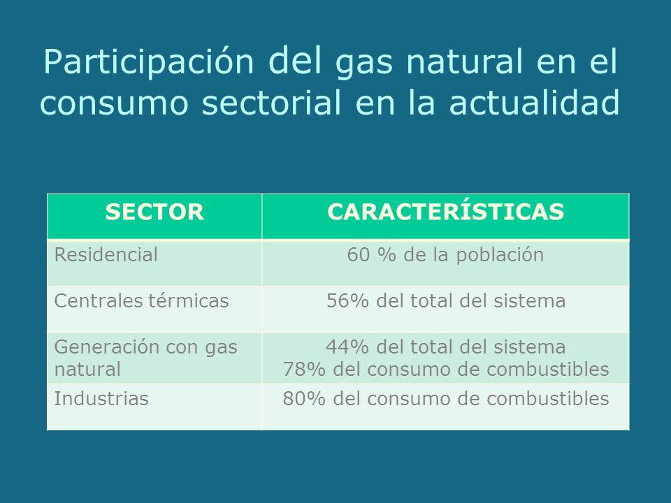 Participación del gas natural en el consumo sectorial en la actualidad SECTORCARACTERÍSTICAS Residencial60 % de la población Centrales térmicas56% del total del sistema Generación con gas natural 44% del total del sistema 78% del consumo de combustibles Industrias80% del consumo de combustibles