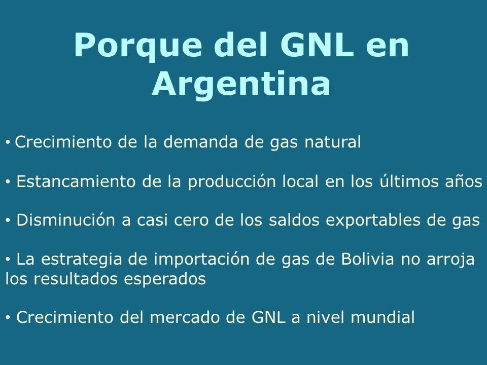 Porque del GNL en Argentina Crecimiento de la demanda de gas natural Estancamiento de la producción local en los últimos años Disminución a casi cero de los saldos exportables de gas La estrategia de importación de gas de Bolivia no arroja los resultados esperados Crecimiento del mercado de GNL a nivel mundial