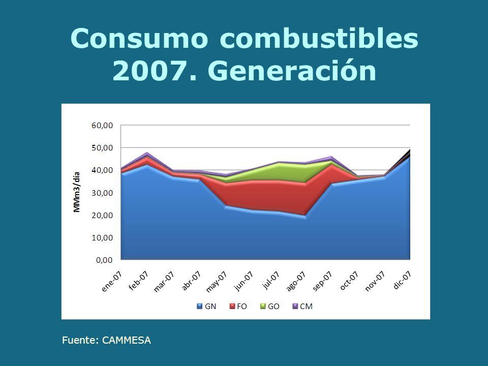 Consumo combustibles 2007. Generación Fuente: CAMMESA