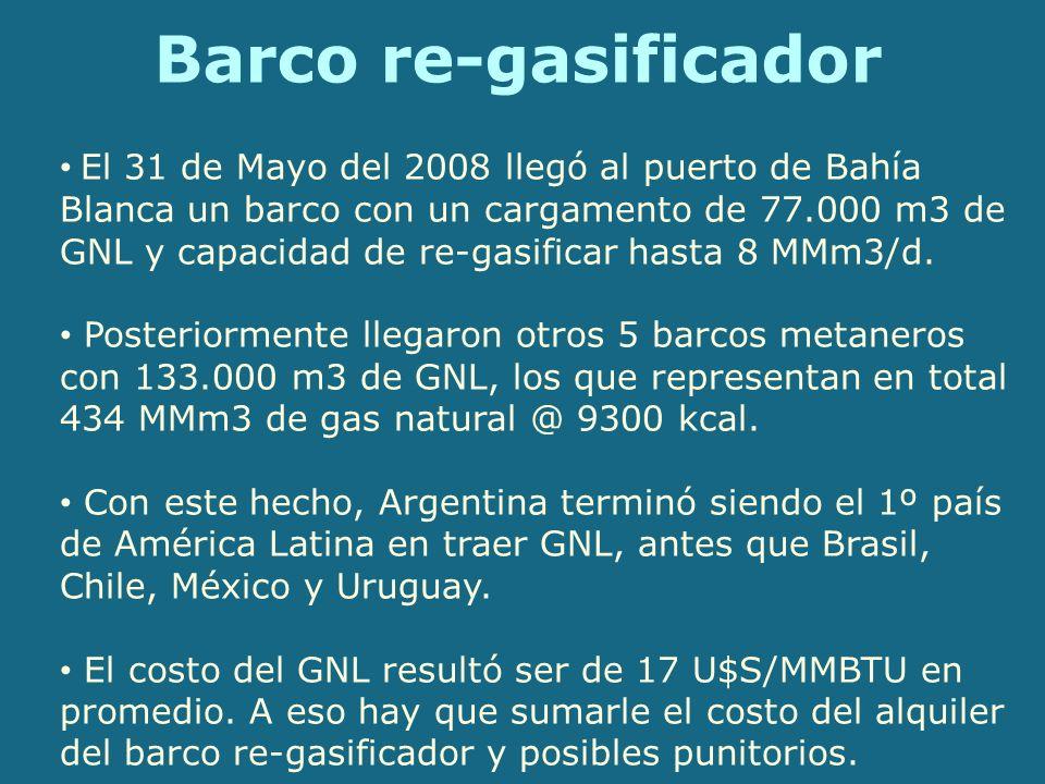 Barco re-gasificador El 31 de Mayo del 2008 llegó al puerto de Bahía Blanca un barco con un cargamento de 77.000 m3 de GNL y capacidad de re-gasificar hasta 8 MMm3/d.