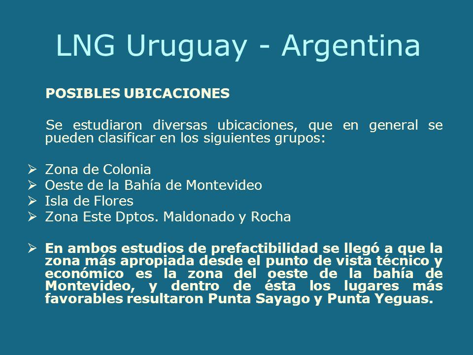 LNG Uruguay - Argentina POSIBLES UBICACIONES Se estudiaron diversas ubicaciones, que en general se pueden clasificar en los siguientes grupos: Zona de Colonia Oeste de la Bahía de Montevideo Isla de Flores Zona Este Dptos.