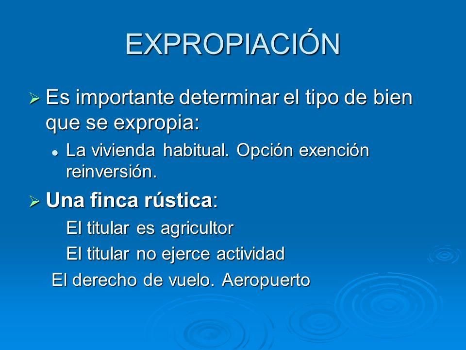 EXPROPIACIÓN Es importante determinar el tipo de bien que se expropia: Es importante determinar el tipo de bien que se expropia: La vivienda habitual.