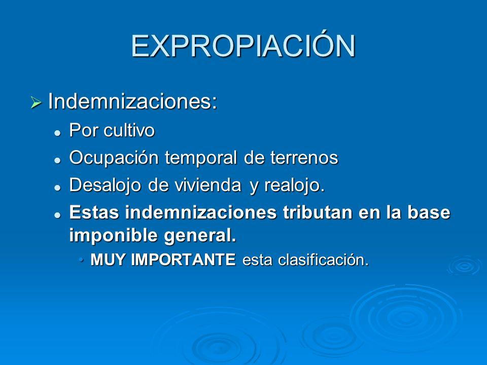 EXPROPIACIÓN Indemnizaciones: Indemnizaciones: Por cultivo Por cultivo Ocupación temporal de terrenos Ocupación temporal de terrenos Desalojo de vivienda y realojo.