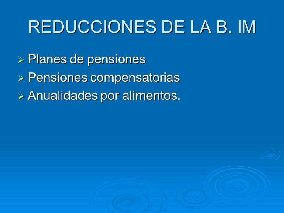 REDUCCIONES DE LA B. IM Planes de pensiones Planes de pensiones Pensiones compensatorias Pensiones compensatorias Anualidades por alimentos. Anualidad
