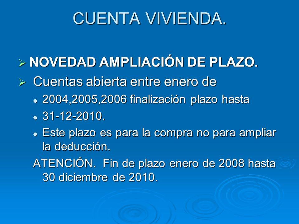 CUENTA VIVIENDA. NOVEDAD AMPLIACIÓN DE PLAZO. NOVEDAD AMPLIACIÓN DE PLAZO. Cuentas abierta entre enero de Cuentas abierta entre enero de 2004,2005,200