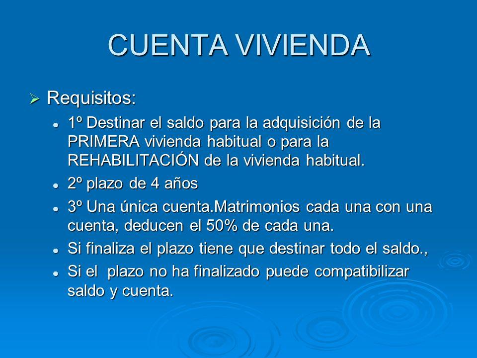 CUENTA VIVIENDA Requisitos: Requisitos: 1º Destinar el saldo para la adquisición de la PRIMERA vivienda habitual o para la REHABILITACIÓN de la vivien
