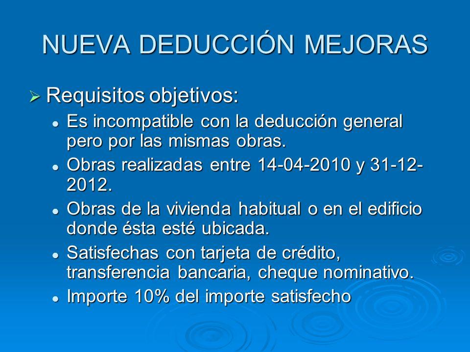 NUEVA DEDUCCIÓN MEJORAS Requisitos objetivos: Requisitos objetivos: Es incompatible con la deducción general pero por las mismas obras. Es incompatibl