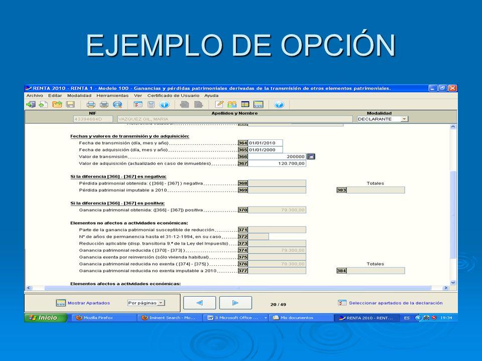 EJEMPLO DE OPCIÓN