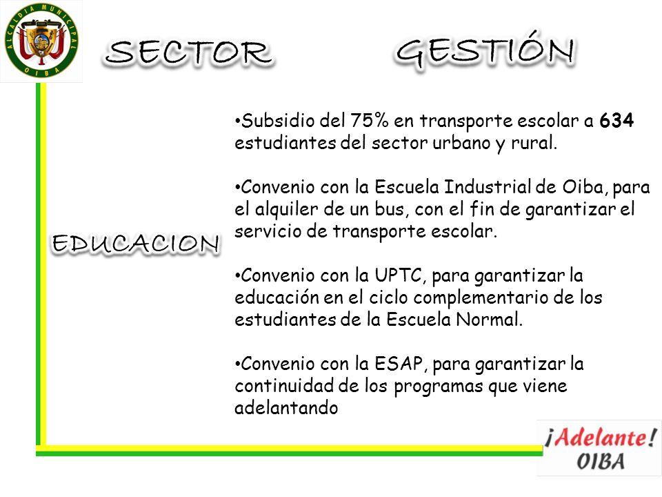 Subsidio del 75% en transporte escolar a 634 estudiantes del sector urbano y rural. Convenio con la Escuela Industrial de Oiba, para el alquiler de un