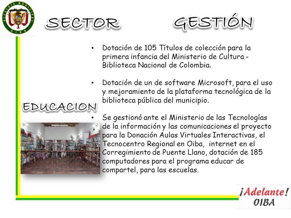 Dotación de 105 Títulos de colección para la primera infancia del Ministerio de Cultura - Biblioteca Nacional de Colombia.