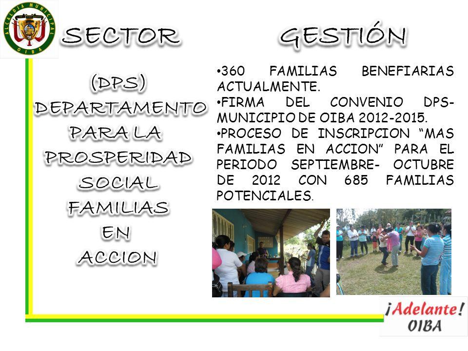 360 FAMILIAS BENEFIARIAS ACTUALMENTE. FIRMA DEL CONVENIO DPS- MUNICIPIO DE OIBA 2012-2015. PROCESO DE INSCRIPCION MAS FAMILIAS EN ACCION PARA EL PERIO